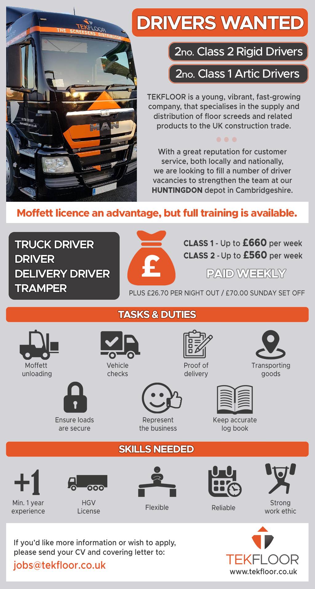 Drivers-wanted - truck driving vacancies Cambridgeshire